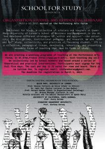 Een affiche van de 'school of study' van onder andere Harney